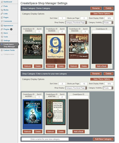 Preview of the CreateSpace Shop Manager plugin for WordPress