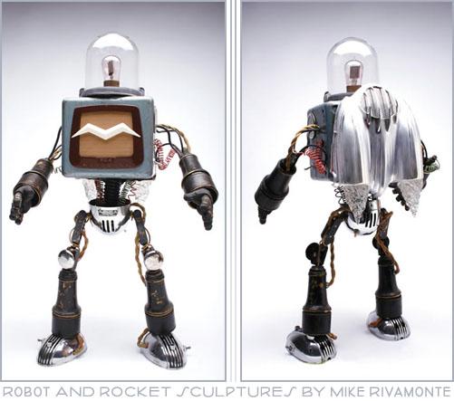Retro Robot Sculpture by Mike Rivamonte