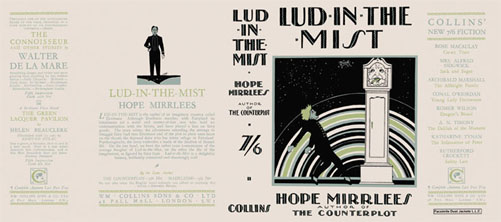 Reproduction book jacket for Hope Mirlees' Lud in the Mist