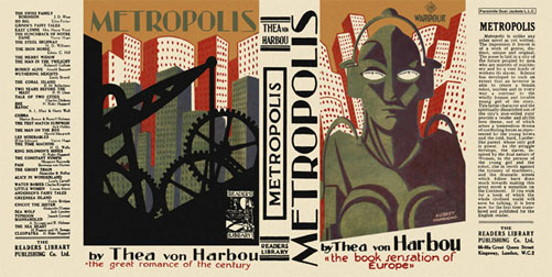 Reproduction book jacket for Thea Harbou's Metropolis