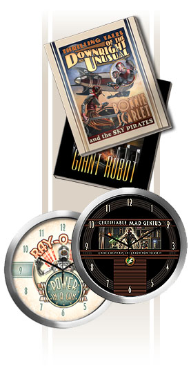 retro sci fi art on blank books & clocks