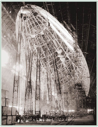 construction photos of the USS Macon