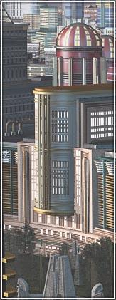 Close up of retro sci-fi city