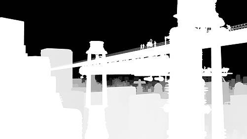 Z Depth version of the retro future city scene