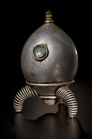 retro sci fi rocket by rik allen