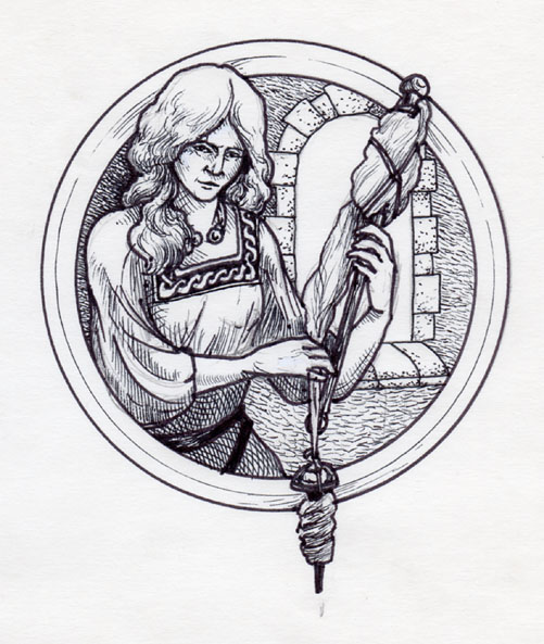 Woman with Distaff & Drop Spindle (1983?)