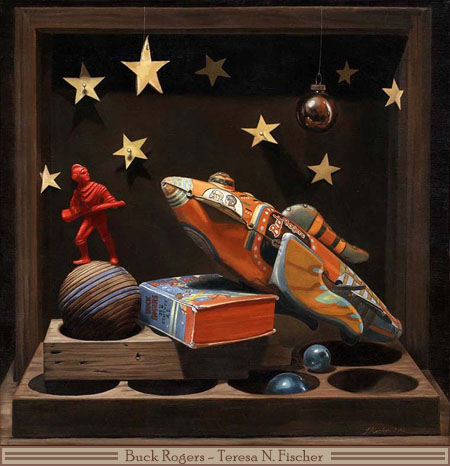 Buck Rogers toys painting by theresa n. fischer