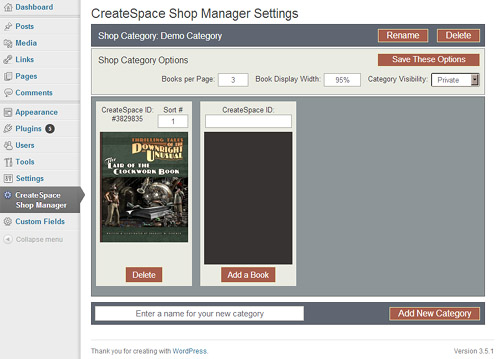 CreateSpace Bookshop Manager plugin for WordPress