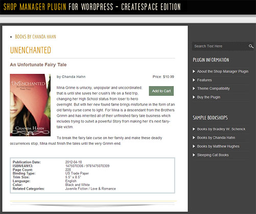 Bookshop Manager Plugin for WordPress - Single Book Display