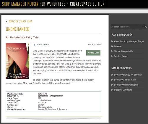 Bookshop Manager Plugin for WordPress - Single Book Display