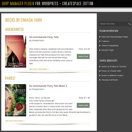 Bookshop Manager Plugin for WordPress - Book Category Display