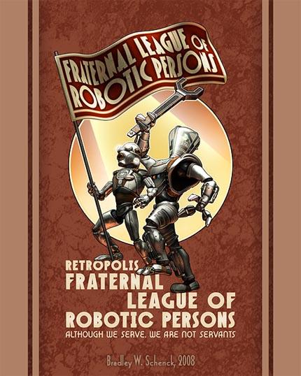 retro robot propaganda poster