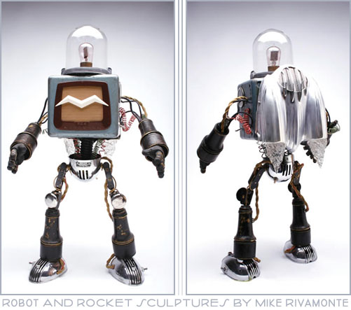 Retro Robot Sculpture by Mike Rivamonte