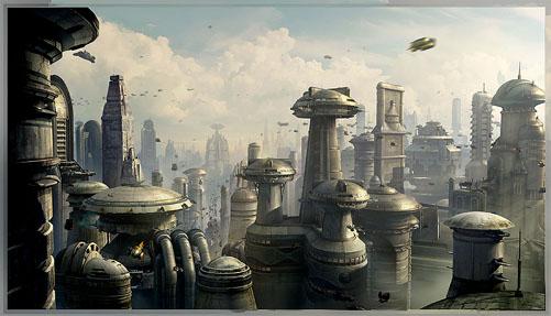 Retro Future City: Matte painting by Yanick Dusseault