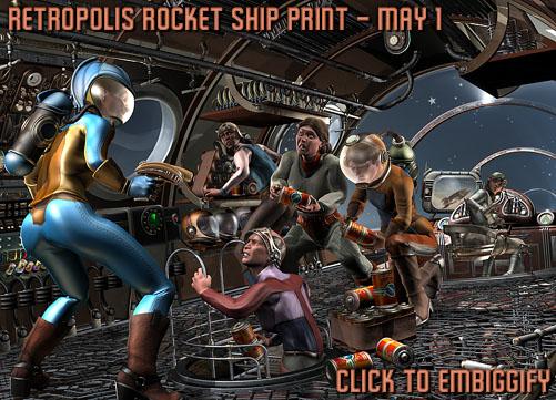 Retropolis Rocket Ship Print: Work in Progress