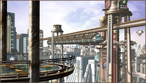 retro futuristic city scene