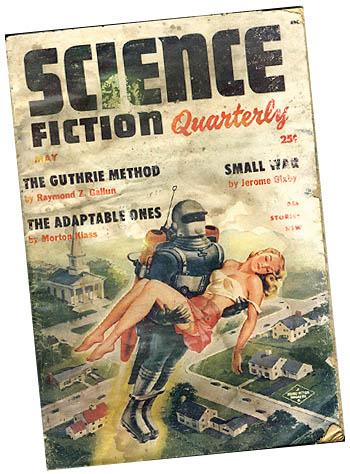 Vintage sci fi magazine cover