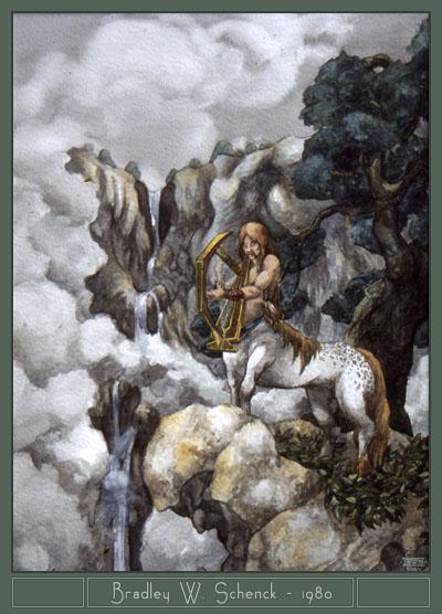 Mythmusica - centaur painting, 1980