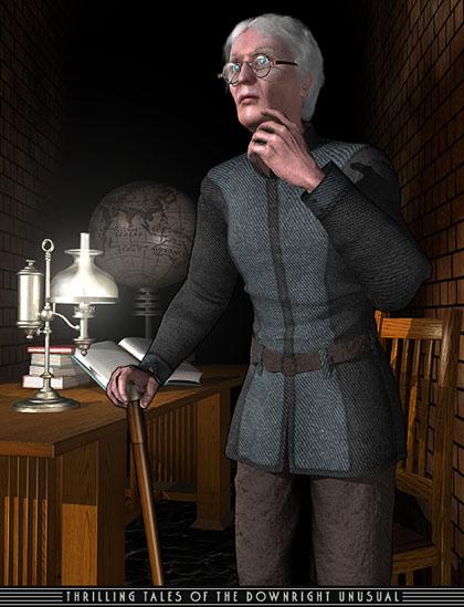 Osgood Finnegan as an aged inventor