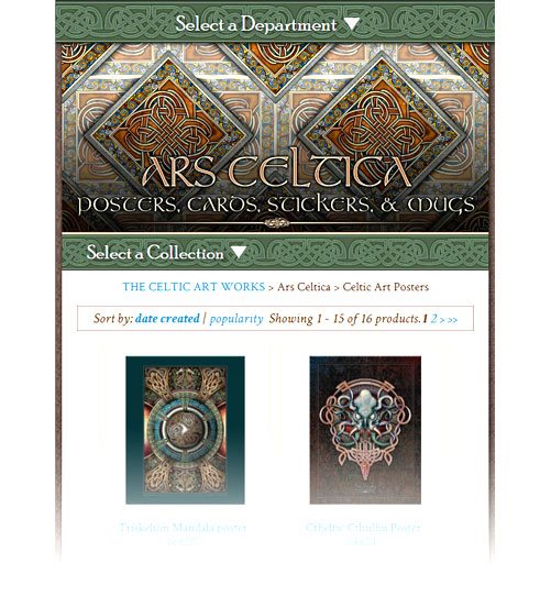 Responsive page redesign for The Celtic Art Works (2018)