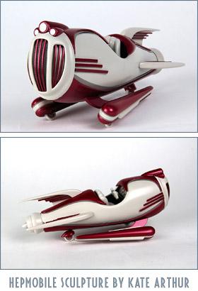 Hepmobile retro rocket sculpture by Kate Arthur